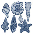 hand-drawn maritime set vector image vector image