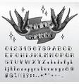 hand written old school font vector image vector image