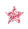 heart shape pink confetti splash with red star vector image