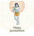 Hindu young god Lord Krishna Happy janmashtami vector image vector image