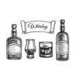 ink sketch set whiskey vector image vector image