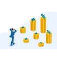 isometric man looks at the amount of loans vector image