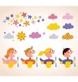 Kids in airplanes design elements set vector image vector image