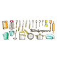 kitchenware utensils collection color set vector image vector image