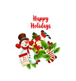 merry christmas wish snowman gifts icon vector image