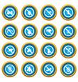 no insect sign icons blue circle set vector image vector image