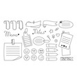 notebook paper sticky note set sticker notepad pin vector image vector image