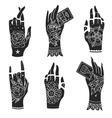 old school tattoo hands vector image vector image