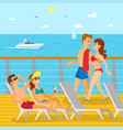 people on cruise liner couple relaxing vector image vector image