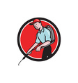Pest Control Exterminator Spraying Circle Cartoon vector image vector image