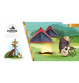 realistic summer camping colorful template vector image