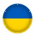 round metallic flag of ukraine with screw holes vector image