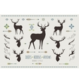 rustic antlers set silhouettes of antler vector image