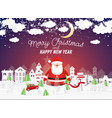 santa claus and snowman in christmas village vector image vector image