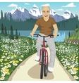 Senior man on his mountain bike outdoors vector image vector image