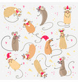 set funny rats with santa claus hats for design vector image vector image