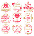 set happy valentines day sign stamp card vector image vector image