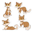 set of cartoon cats collection of cute red cats vector image