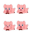 set of cute pig cartoon characters vector image