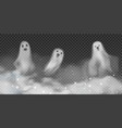 set realistic ghosts in fog 3d smokes vector image vector image