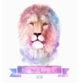 set watercolor cute lion vector image