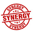 synergy round red grunge stamp vector image vector image