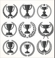 Trophy and awards retro vintage collection vector image