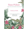 tropical jungle greenery and orchid flowers card vector image vector image