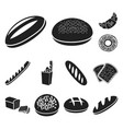 types of bread black icons in set collection for vector image vector image