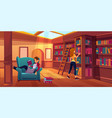 women in library reading and searching books vector image