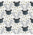 rabbit in hat pattern seamless background for vector image