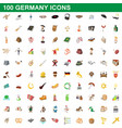 100 germany icons set cartoon style vector image vector image
