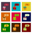 assembly of flat shading style icon gift box vector image vector image