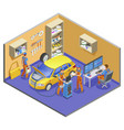 auto service isometric composition vector image vector image