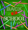 back to school at green chalkboard vector image vector image