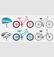 bike and cycling accessories set colored icons set vector image