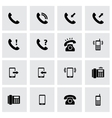 Black telephone icon set