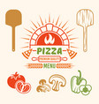 brick oven and pizza colored emblem vector image