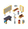 bus station elements isometric vector image