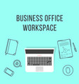 business office workspace with thin line items vector image vector image