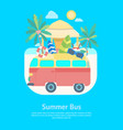 cartoon color summer bus transportation card vector image
