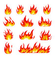 cartoon fire icons set flame symbols vector image vector image