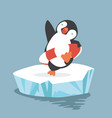 cartoon penguin inflatable ring on sea vector image vector image