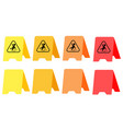 caution wet floor yellow plate orange plate red vector image vector image