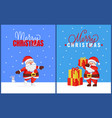 christmas greeting cards with santa and bunny vector image vector image