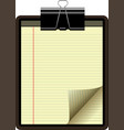 clipboard yellow legal pad corner paper page curl vector image vector image