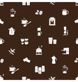 coffee icons brown and white pattern eps10 vector image