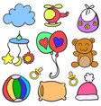 collection of object baby set doodle vector image vector image
