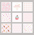 cute card templates and seamless patterns set for vector image vector image
