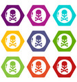 danger icons set 9 vector image